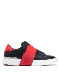 schwarze bedruckte Slip-On Sneakers aus Leder von Philipp Plein