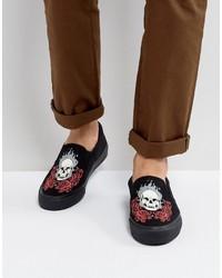 schwarze bedruckte Slip-On Sneakers aus Segeltuch von Asos