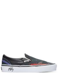 schwarze bedruckte Slip On Sneakers aus Segeltuch von Vans