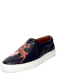 schwarze bedruckte Slip-On Sneakers