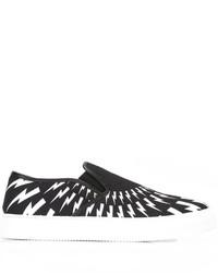 schwarze bedruckte Slip-On Sneakers von Neil Barrett