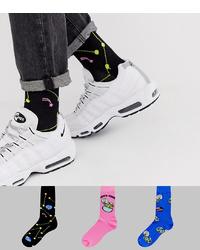 schwarze bedruckte Socken von ASOS DESIGN