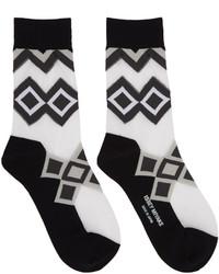 schwarze bedruckte Socken von Issey Miyake