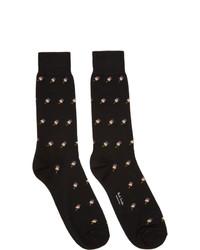 schwarze bedruckte Socken von Paul Smith