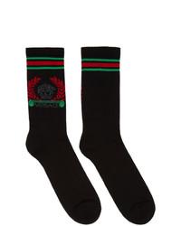 schwarze bedruckte Socken von Versace