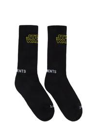 schwarze bedruckte Socken von Vetements