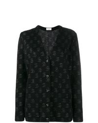 schwarze bedruckte Strickjacke von Saint Laurent