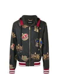 schwarze bedruckte Windjacke von Dolce & Gabbana