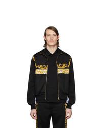 schwarze bedruckte Windjacke von Versace