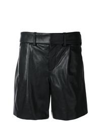schwarze Bermuda-Shorts aus Leder von Saint Laurent