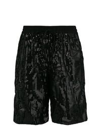 schwarze Bermuda-Shorts aus Pailletten von P.A.R.O.S.H.