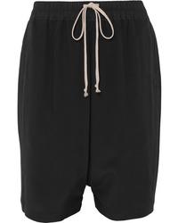 schwarze Bermuda-Shorts aus Seide von Rick Owens