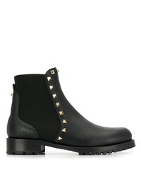 schwarze beschlagene Chelsea Boots aus Leder von Valentino