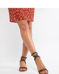 schwarze beschlagene flache Sandalen aus Leder von ASOS DESIGN