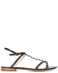 schwarze beschlagene flache Sandalen aus Leder von Marc Jacobs