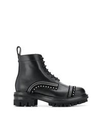 schwarze beschlagene flache Stiefel mit einer Schnürung aus Leder von Dsquared2