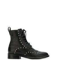 schwarze beschlagene flache Stiefel mit einer Schnürung aus Leder von Jimmy Choo