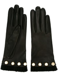 schwarze beschlagene Handschuhe von Gucci