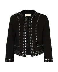 schwarze beschlagene Jacke mit einer offenen Front von MICHAEL Michael Kors