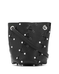 schwarze beschlagene Leder Beuteltasche von Proenza Schouler