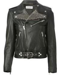 schwarze beschlagene Leder Bikerjacke
