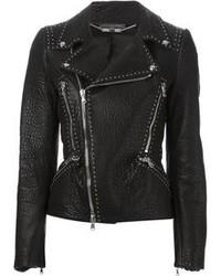 schwarze beschlagene Leder Bikerjacke von Alexander McQueen