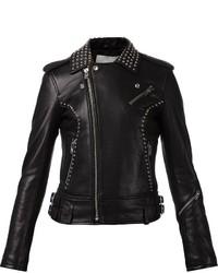 schwarze beschlagene Leder Bikerjacke von IRO