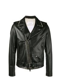 schwarze beschlagene Leder Bikerjacke von Valentino