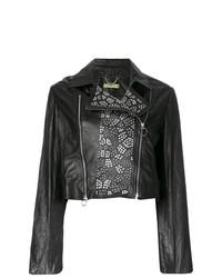 schwarze beschlagene Leder Bikerjacke von Versace Jeans