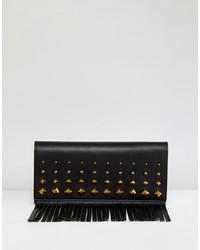 schwarze beschlagene Leder Clutch von ASOS DESIGN