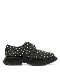 schwarze beschlagene Leder Derby Schuhe von Alexander McQueen