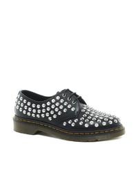 schwarze beschlagene Leder Derby Schuhe