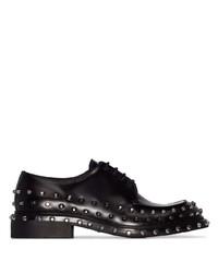 schwarze beschlagene Leder Derby Schuhe von Prada