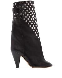 schwarze beschlagene Leder mittelalte Stiefel von Isabel Marant