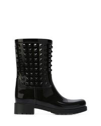 schwarze beschlagene Leder mittelalte Stiefel von Valentino