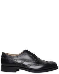 schwarze beschlagene Leder Oxford Schuhe