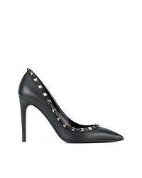 schwarze beschlagene Leder Pumps von Valentino