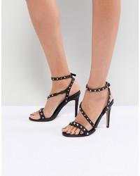 schwarze beschlagene Leder Sandaletten von ASOS DESIGN