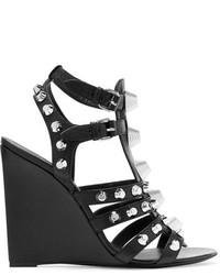 schwarze beschlagene Leder Sandaletten von Balenciaga