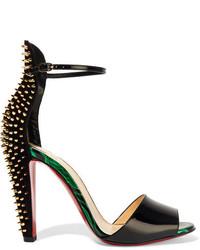 schwarze beschlagene Leder Sandaletten von Christian Louboutin