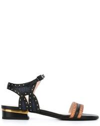 schwarze beschlagene Leder Sandaletten von Lanvin