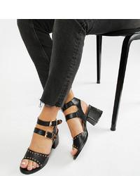 schwarze beschlagene Leder Sandaletten von Lost Ink Wide Fit