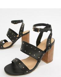 schwarze beschlagene Leder Sandaletten von Park Lane