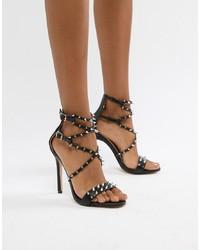schwarze beschlagene Leder Sandaletten von Public Desire