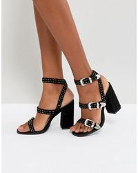 schwarze beschlagene Leder Sandaletten von RAID