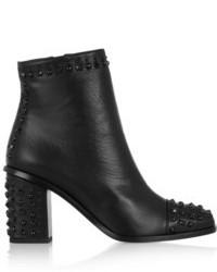 schwarze beschlagene Leder Stiefeletten von Alexander McQueen
