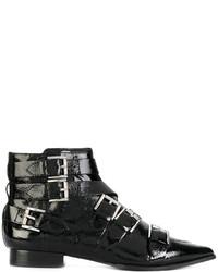 schwarze beschlagene Leder Stiefeletten von Ash