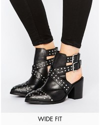schwarze beschlagene Leder Stiefeletten von Asos