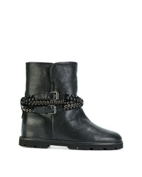 schwarze beschlagene Leder Stiefeletten von Baldinini