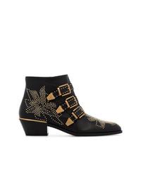 schwarze beschlagene Leder Stiefeletten von Chloé